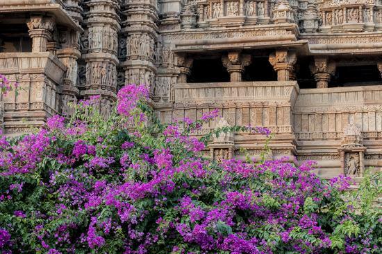 ellen-clark-india-madhya-pradesh-state-temple-of-kandariya-with-bushes-of-bougainvillea-flowers-in-foreground