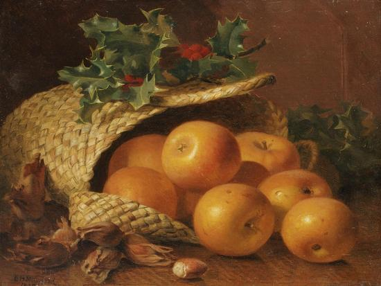 eloise-harriet-stannard-still-life-with-apples-hazelnuts-and-holly-1898