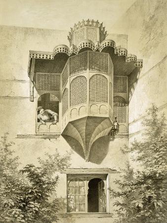 emile-prisse-d-avennes-cairo-house-called-beyt-el-emyr-a-little-dilapidated-19th-century-colour-litho