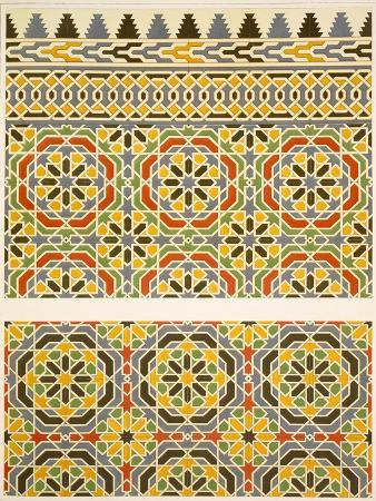 emile-prisse-d-avennes-geometric-ceramic-faience-decoration-from-the-mosque-of-cheykhoun-19th-century-print