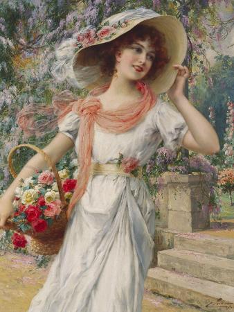 emile-vernon-the-flower-girl-early-20th-century