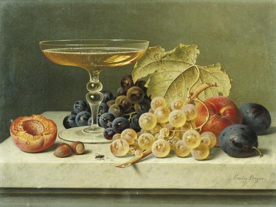 emilie-preyer-a-glass-of-champagne-grapes-plums-and-a-peach-on-a-marble-ledge