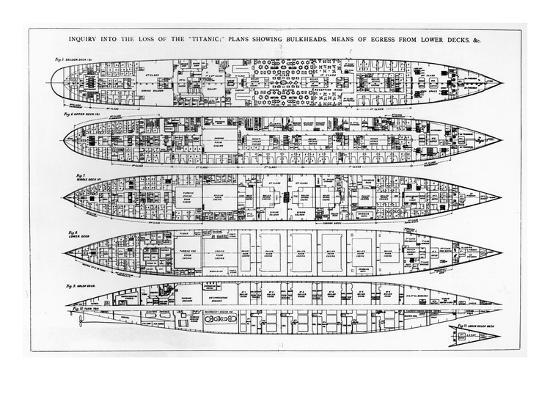 english-inquiry-in-the-loss-of-the-titanic-cross-sections-of-the-ship-engraving-b-w-photo