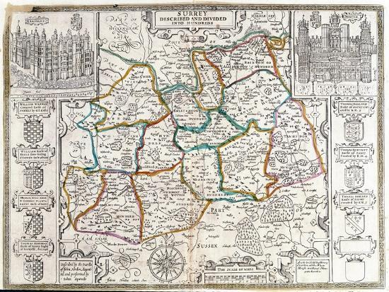 english-map-of-surrey-described-and-divided-into-hundreds-engraving