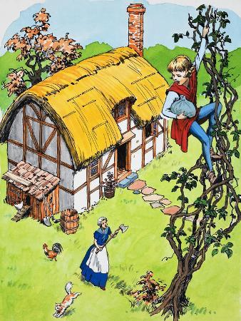 english-school-jack-climbs-down-the-beanstalk-illustration-from-jack-and-the-beanstalk-1969