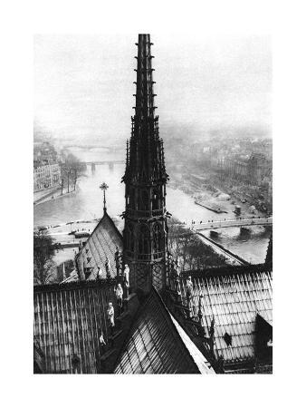 ernest-flammarion-the-spire-of-notre-dame-seen-from-the-towers-paris-1931