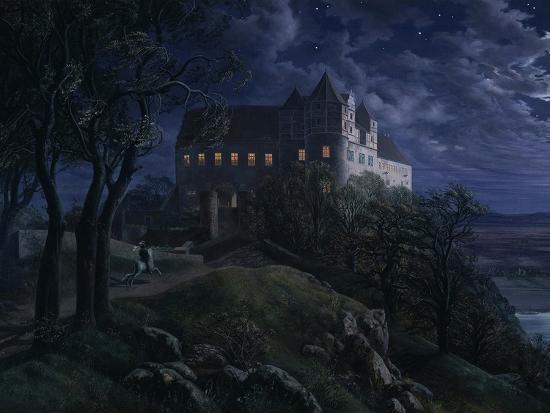 ernst-ferdinand-oehme-castle-scharfenberg-at-night-1827