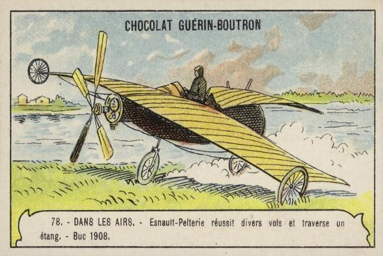 esnault-pelterie-making-a-successful-flight-over-a-pond-buc-france-1908