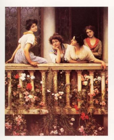 The balcony art print by eugene de blaas at for The balcony menu