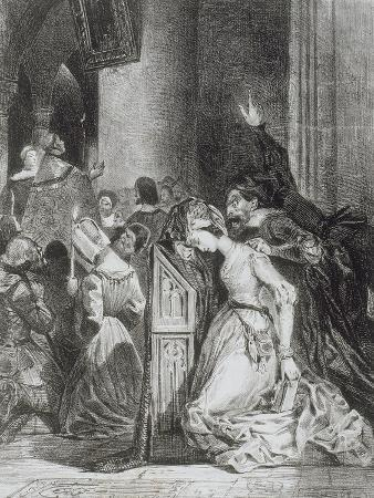 eugene-delacroix-faust-de-goethe-marguerite-en-priere-a-l-eglise-avec-mephisto-malheureuse-1828