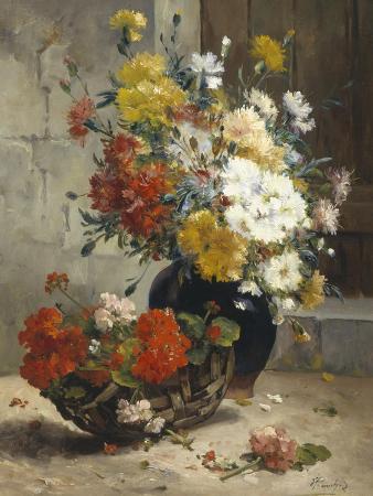 eugene-henri-cauchois-still-life-of-summer-flowers