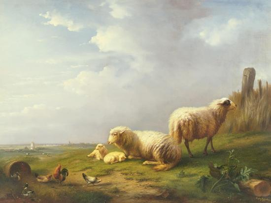 eugene-joseph-verboeckhoven-sheep-and-chickens-in-a-landscape-19th-century