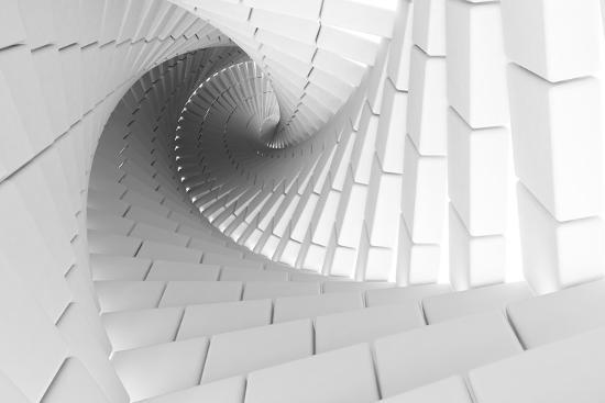 eugene-sergeev-3d-abstract-background-illustration-with-helix-made-of-white-chamfer-boxes