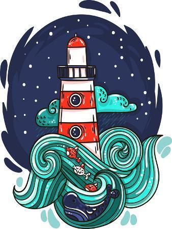 evasabrekova-vector-illustration-lighthouse-in-storm-night-stars-space-waves-cloud
