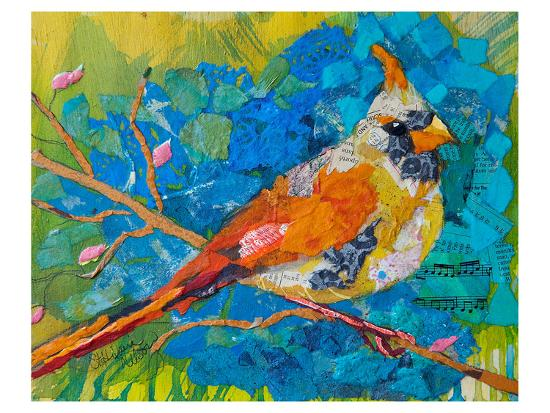 female-cardinal-on-blue