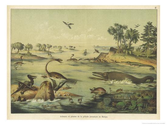 ferdinand-von-hochstetter-animals-and-plants-of-the-jurassic-era-in-europe