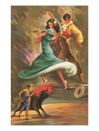 Flamenco Dancers And Bullfighter Art Print At Art Com