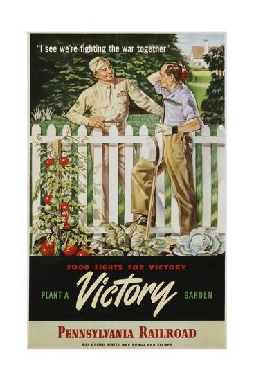 Food Fights For Victory Plant A Victory Garden Poster Giclee Print At