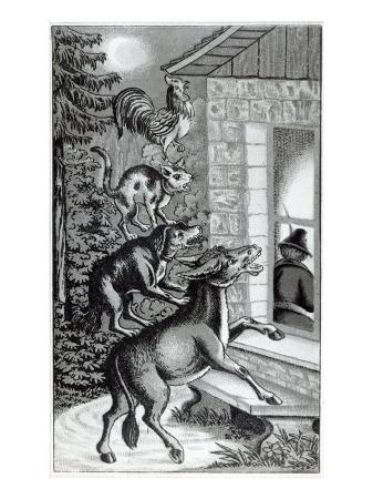 four-animals-shouting-at-window-for-the-musicians-of-bremen-town-tale-by-the-brothers-grimm