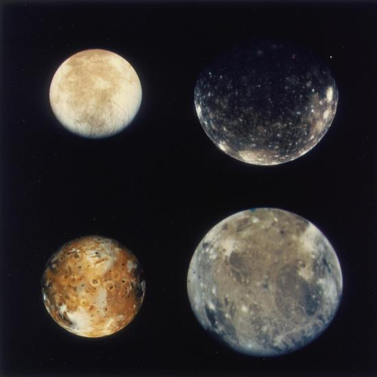 Four Moons of Jupiter, Io, Europa, Ganymede and Callisto ...