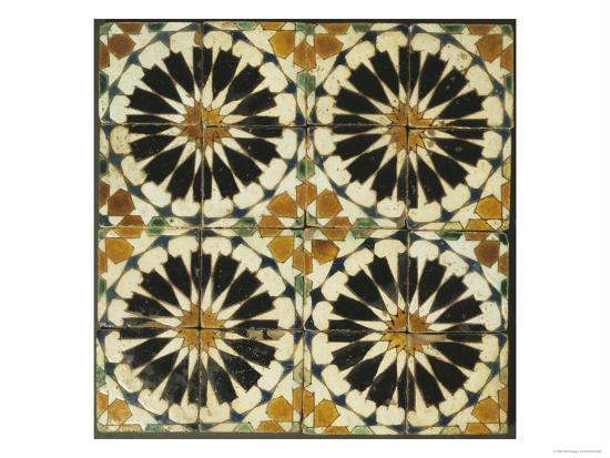 four-roundels-with-oar-shaped-segments-with-star-on-panel-of-sixteen-tiles-14th-century