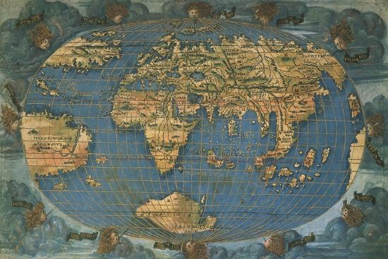 World map on oval projection created in florence circa 1508 giclee francesco rosselli world map on oval projection created gumiabroncs Image collections