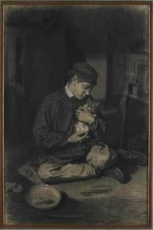 francois-bonvin-seated-boy-holding-a-cat-recto-study-of-kittens-and-a-plate-of-milk-verso-c-1874-1880
