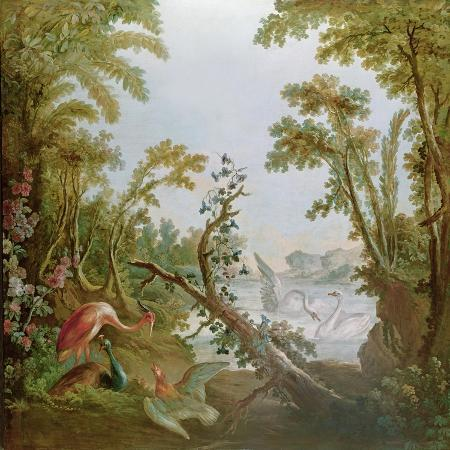 francois-boucher-lake-with-swans-a-flamingo-and-various-birds-from-the-salon-of-gilles-demarteau-c-1750-65