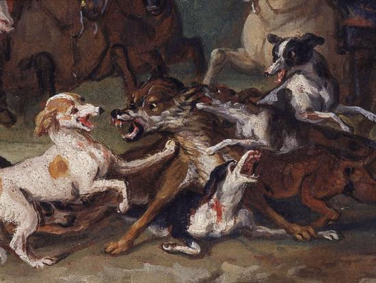 francois-desportes-wolf-attacked-by-hounds-wolf-hunting-oil-sketch-c-1720-23