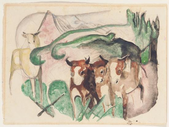 franz-marc-animals-in-a-landscape-three-cows-and-a-horse-1913