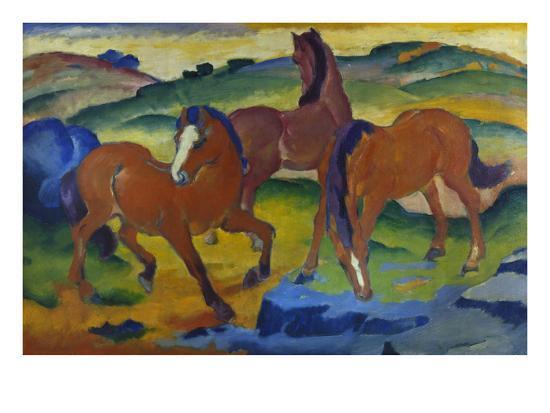 franz-marc-red-horses-grazing-horses-iv-1911