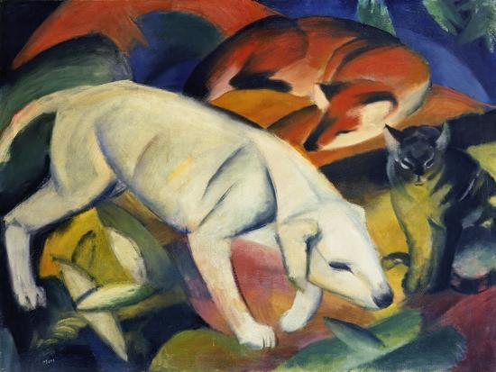 franz-marc-three-animals-a-dog-a-fox-and-a-cat-1912