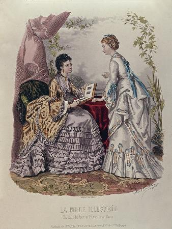 french-school-fashion-plate-showing-ladies-in-dresses-designed-by-mme-breant-castel-and-looking-at-photo-albums