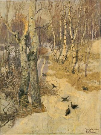 frits-thaulow-woods-covered-with-snow-19th-century