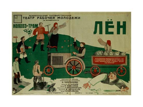fyodor-filippovich-kondratov-poster-for-the-theatre-play-flax-1931