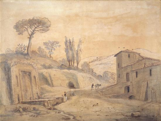 gaspar-van-wittel-the-antique-fountain-and-arch-at-grottaferrata-rome