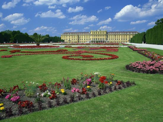 Formal Gardens with Flower Beds in Front of the Schonbrunn Palace ...