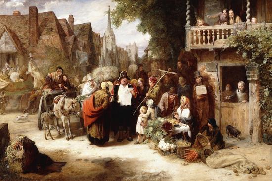 george-bernard-o-neill-market-day-the-arrival-of-the-hippodrome