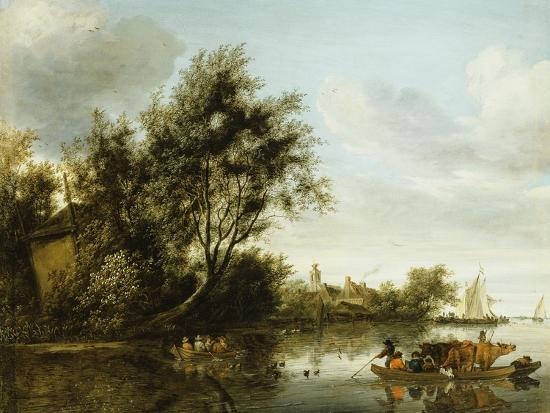george-henry-clements-a-river-landscape-with-a-hayloft-among-trees-and-a-ferryboat-with-passengers-and-cattle