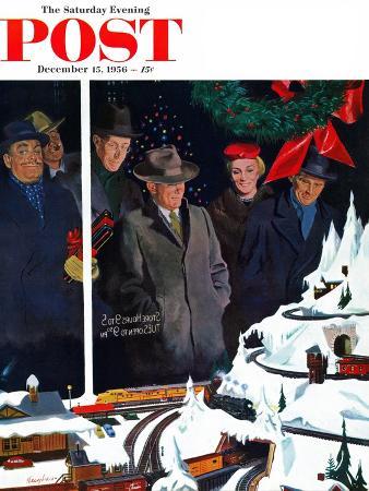 george-hughes-christmas-train-set-saturday-evening-post-cover-december-15-1956