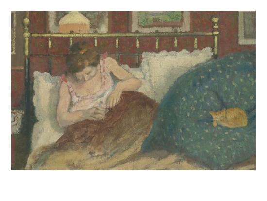 au lit dit aussi la femme au chat giclee print by georges lemmen at. Black Bedroom Furniture Sets. Home Design Ideas