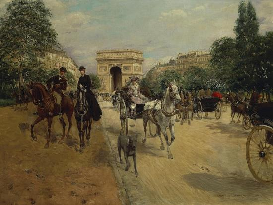 georges-stein-knights-and-carriages-on-bois-de-boulogne-avenue-with-arc-de-triomphe-in-background