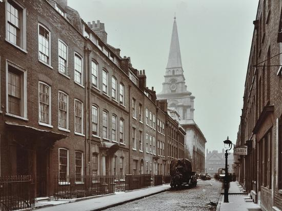 georgian-terraced-houses-and-christ-church-spitalfields-stepney-london-1909