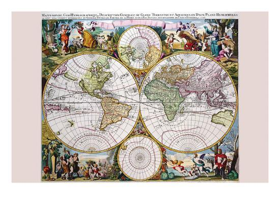 gerard-valk-stereographic-map-of-the-world-with-classical-illustration