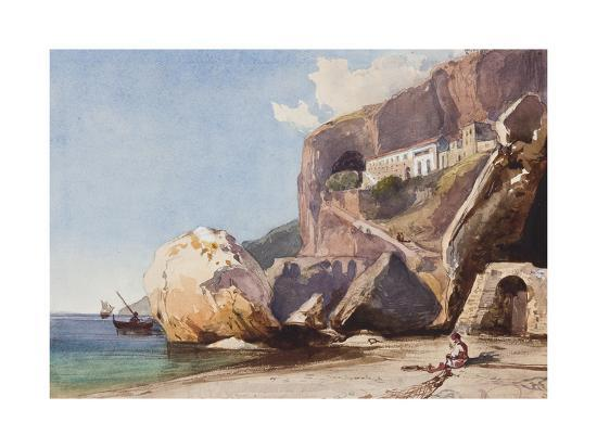 giacinto-gigante-the-capuchin-monastery-at-amalfi-from-the-beach