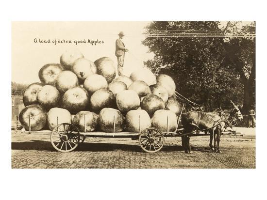 giant-apples-in-mule-cart