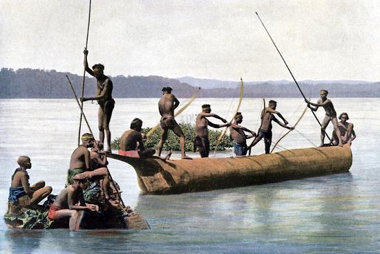 gillot-fishing-with-a-bow-andaman-and-nicobar-islands-indian-ocean-c1890