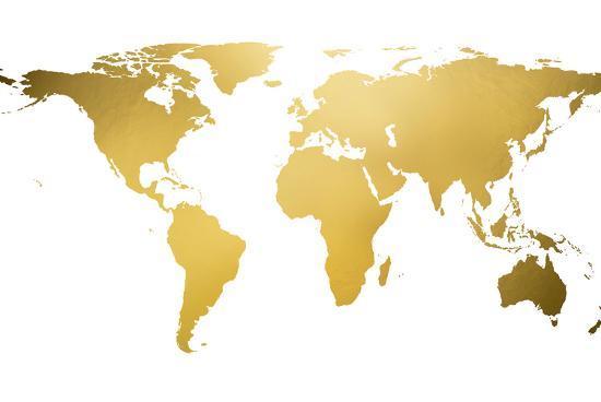 Gold world map gold foil framed art print at art gold world map gold foil gumiabroncs Gallery