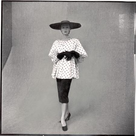 gordon-parks-fashion-model-showing-polka-dotted-smock-top-over-black-skirt-by-balenciaga