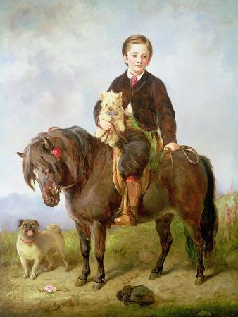 gourlay-steell-john-samuel-bradford-as-a-boy-seated-on-a-shetland-pony-with-a-pug-dog